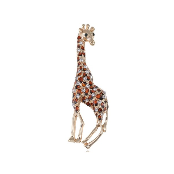 Alilang Golden Tone Clear Crystal Colored Rhinestones Brown Giraffe Spotted Brooch Pin - C9113T2EP4F