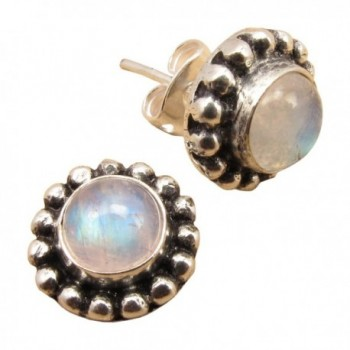925 Silver Plated Cabochon RAINBOW MOONSTONE BEAUTIFUL Studs Earrings HANDWORK ! Jewelry for Her - CK12NUH0LR5
