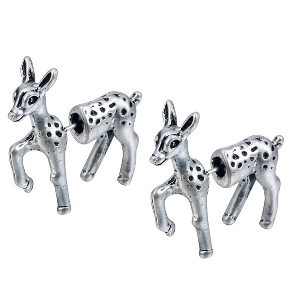 Qiandi 1 Pair Lovely 3d Bambi Deer Animal Earrings Birthday Jewelry Gift for Women Men - Antique silver - C6183CLSGIY