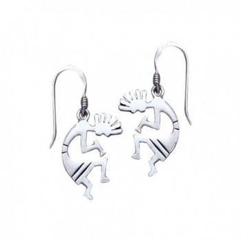 Jewelry Trends Sterling Silver Dancing Kokopelli Dangle Earrings South Western Design - CR11VKVLBVR