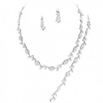 Affordable Iridescent Color Rhinestone Crystal Bridesmaid 3 Bridal Necklace- Earring- Bracelet Set Silver Tone I6 - CZ12HCMFOFL
