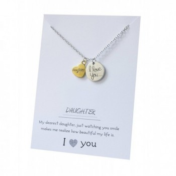 Daughter I Love You to the Moon Jewelry Pendant Gift Card Heart Necklace 18 Inch - CO1822S5O35