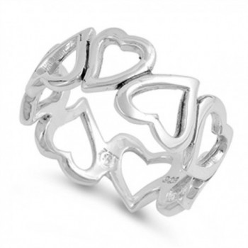 High Polish Heart Eternity Purity Promise Ring Sterling Silver Band Sizes 5-10 - C3187YOOR5D