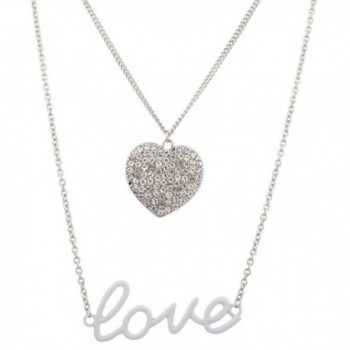 Lux Accessories Valentines Day Iced Out Pendant Valentines Day Necklace Set (2 PC). - CC11WNX33GR