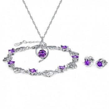 Sterling Necklace Matching Earrings Bracelet - Purple - CE12F2PFGML