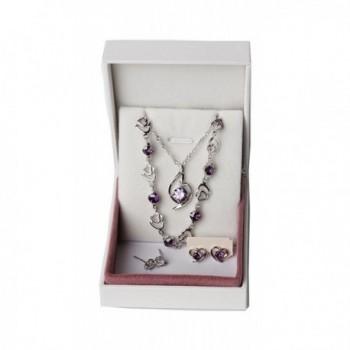 Sterling Necklace Matching Earrings Bracelet in Women's Jewelry Sets