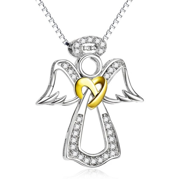 Two Tone 925 Sterling Silver Pendant Angel Wing Heart Jewelry Charms CZ Necklace For Women- 18'' - C4186RDD2HR