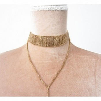 Karen Accessories Gothic Chain Choker Long Pendant Necklace Vintage Crystal Choker Necklace - gold - CI17Z5CDW5A