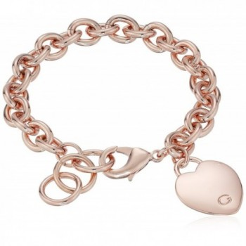 "GUESS ""Basic"" G Logo Heart Link Bracelet - Rose Gold - CJ11O2008C1"