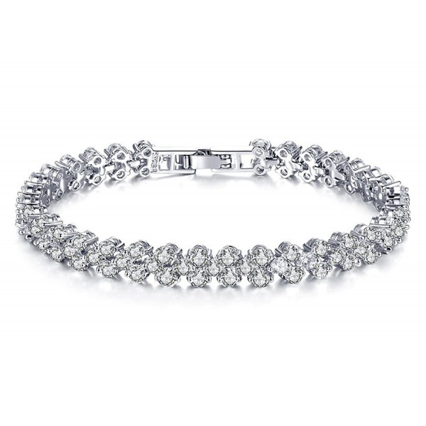 Geerier Rhinestone Bracelet Elegant Crystal Family Sister Bracelets for Women - silver 1 - CF187ET8WY5