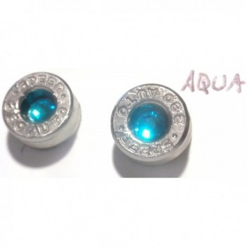 Small 380 caliber Silver Bullet Casing Earrings Stainless steel post w Aqua Teal crystal - CQ11KERT1NX