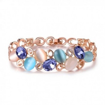 Mytys Rose 16K Gold Plated Bangle Opal and Crystal Beads Bracelets for Women - CN183LEGGUE