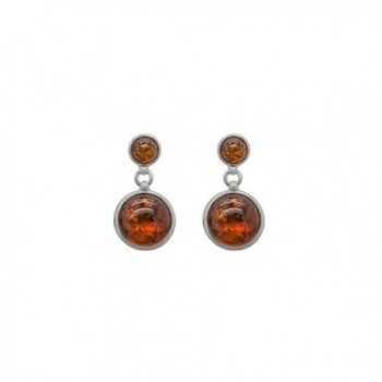 925 Sterling Silver Round Stud Dangle Earrings with Genuine Natural Baltic Amber. - Cognac - C112MA5WW6A