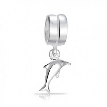 Bling Jewelry Nautical Lucky Dolphin Charm Sterling Silver Ocean Pendant and Animal Bead for Bracelet - C8118D948V9