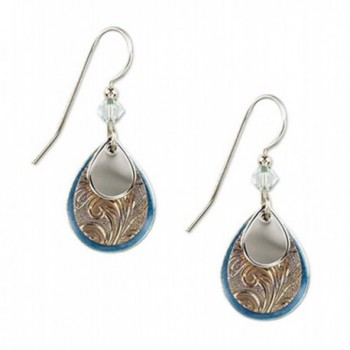 Silver Forest Silvertone and Blue Enamel Teardrop Layered Dangle Earrings - CY11OEEJ1C3