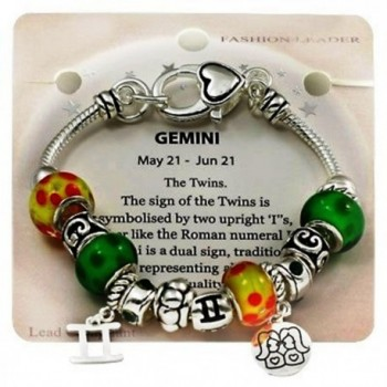 DianaL Boutique Zodiac Sign Gemini the Twins Horoscope Charm Bracelet Murano Beads Gift Boxed Fashion Jewelry - CH11JWDEQPN