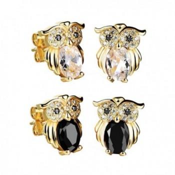 Felicelia Classic Gold Plated Owl Cubic Zirconia Crystal Stud Earrings For Women Girls Fashion Jewelry - CK184TD7NZ4