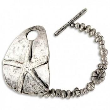 Antiqued Silver Tone Finish Ocean Starfish Wish Beaded Stretch Bracelet - CP11PP7YIJT