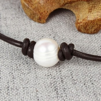 8af594cc4838d Handmade Single White Freshwater Pearl Choker Necklace Bead on Leather  14-19.7