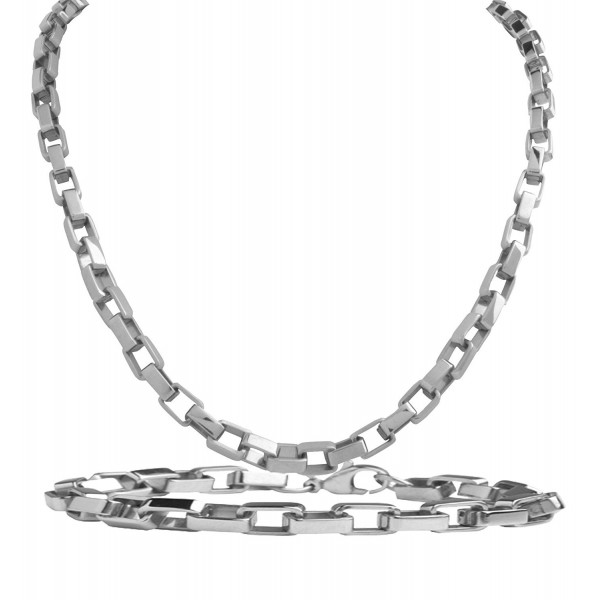 SET: Solid 3.2mm Rectangular Link Chain Necklace 24 Inches + Bracelet 8.4 Inches - High Polish Links - C611I50X4BB