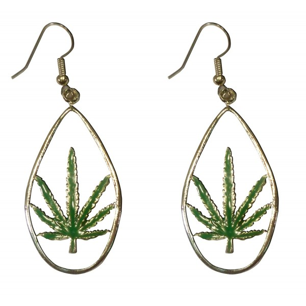 Marijuana Weed Pot Leaf Green Enamel on Pewter Dangle Earrings - CU11C5FUXLV