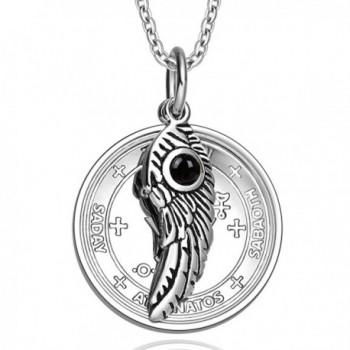 Archangel Michael Sigil Amulet Magic Powers Angel Wing Simulated Black Onyx Pendant 18 Inch Necklace - C111UNTJTQB