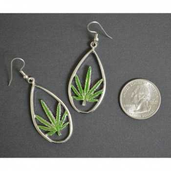 Marijuana Enamel Pewter Dangle Earrings