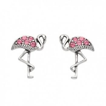 Sterling Silver Flamingo Stud Earrings w/Pink Rhinestones - CD11HX061ZP