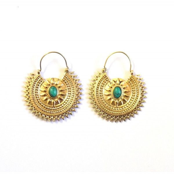 Earrings Fashion Jewelry Tribal Turquoise - Turquoise - CS17YE3IKD7