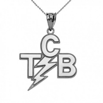 """Taking Care of Business In A Flash (TCB) Sterling Silver Pendant Necklace- 22"""" - CJ186OTA604"""