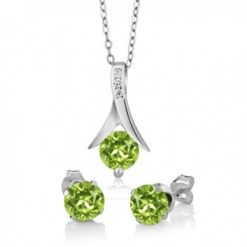 3.00 Ct Round Green Peridot Gemstone Birthstone 925 Sterling Silver Pendant and Earrings Set 18 Inch Chain - CX11HZ0AY4V