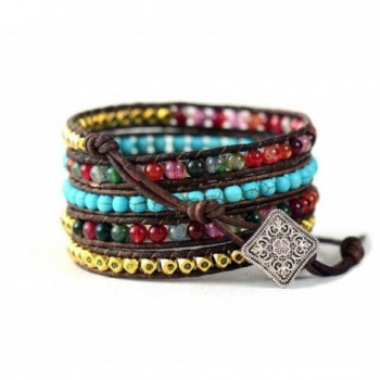 Leather Wrap Bracelet with Synthetic-Turquoise and Mixed Colorful Beads - CE124FZEBON