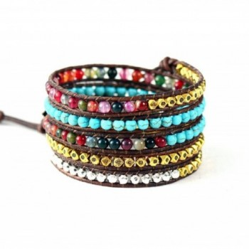 Leather Bracelet Synthetic Turquoise Mixed Colorful