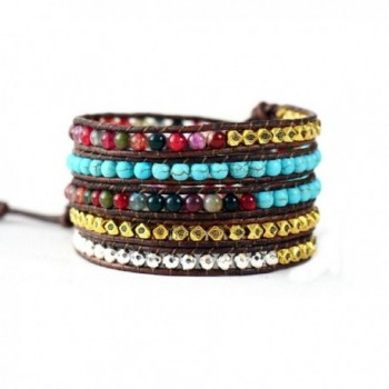 Leather Bracelet Synthetic Turquoise Mixed Colorful in Women's Wrap Bracelets