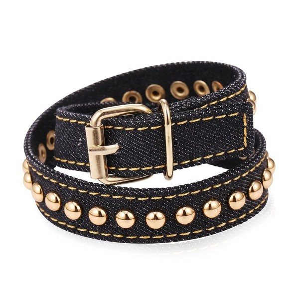 U7 Women Men Star Design Soft Denim Wrap Bracelet Belt Buckle Bracelets - Pushpin Black - CR12H2TYR3T