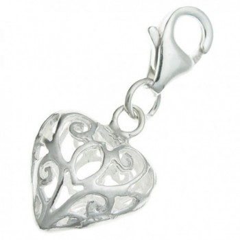 .925 Sterling Silver Heart Love Filigree Dangle Bead Clasp European Lobster Trigger Clip On Charm - CQ11D3QJK15