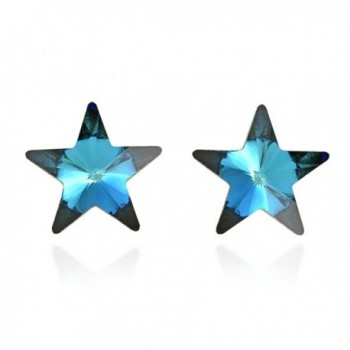 Prism Blue Fashion Crystal Star .925 Sterling Silver Stud Earrings - CQ11OMPMAIP
