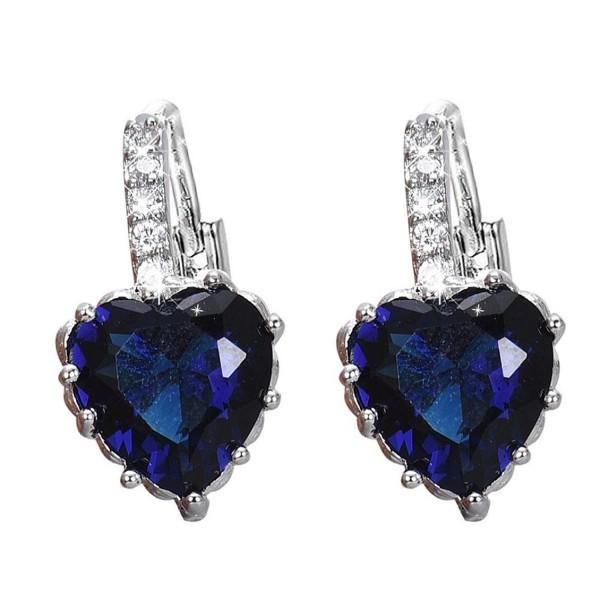 DDLBiz Women Girls Crystal Love Heart Shape Zircon Earrings Ear Studs Ear Deco - Blue - C212O5JFYVA