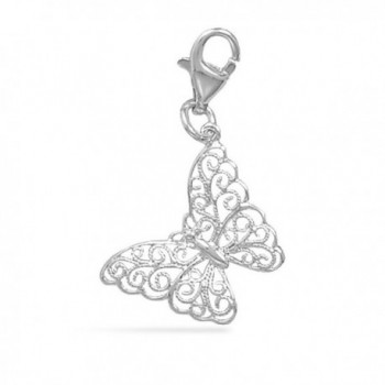 CM Sterling Silver Filigree Butterfly Charm Lobster Clasp - C3116CICMAV