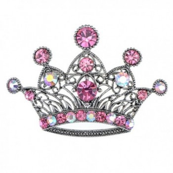 Alilang Silvery Tone Iridescent Pink Colored Rhinestones Princess Crown Brooch Pin - CN1163ZMQ3H