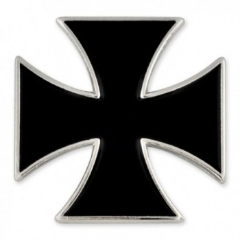 PinMart's Black Iron Cross Biker Enamel Lapel Pin - CB11PACAQ6V