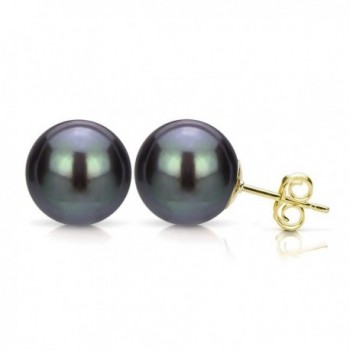 Black Cultured Freshwater Pearl Stud Earrings 14K Gold Jewelry for Women - CH11NY4R4XH