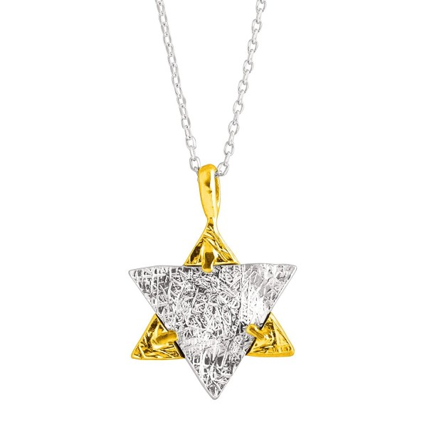 "Silpada 'Reversible Star of David' Sterling Silver and 14K Gold over Brass Necklace- 18+2"" Extender - CV12O4WYNXY"