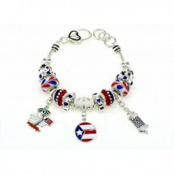 Silvertone Puerto Rico Theme Lobster Clasp Bracelet With Charms - CM12EQV1XNN