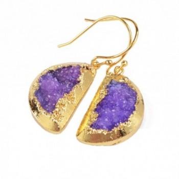 ZENGORI 1 Pair Gold Plated Half Moon Rainbow Druzy Geode Fishhook Dangle Earrings G0817 - C912M7G73PL