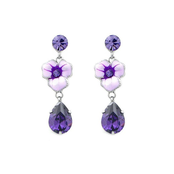Glamorousky Purple Flower Earrings with Purple Austrian Element Crystal (4683) - CI118SOFPSJ
