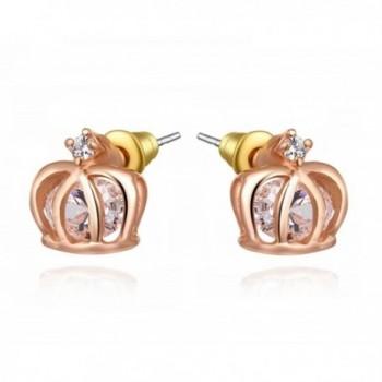 Hotsale 18k Gold Plated Austrian Swarovski Crystal Zircon Crown Stud Earrings for Wedding E315 - C411SULJ0JZ