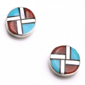 Zuni Multi-Stone Inlay Stud Earrings By Cheama - CI17WULZ5RL
