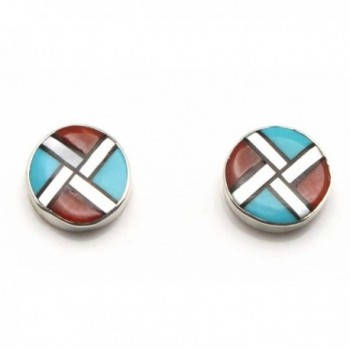 Zuni Multi Stone Inlay Earrings Cheama in Women's Stud Earrings