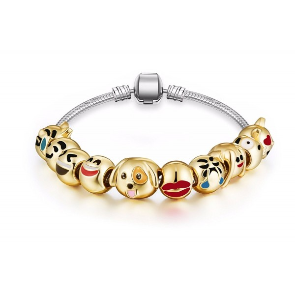 Fun Faces Emoticon Charms Bracelet - 18K Gold Plated With 10 Pieces of Interchangeable Smiley Faces 2 - CD12NFH0JGG